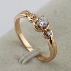 Inel logodna placat filat cu aur 14k cu piatra zirconiu alba - nou - marime 6, 5 - Inel placate cu aur pandora