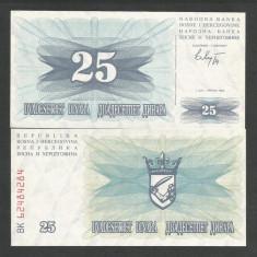 BOSNIA HERTEGOVINA 25 DINARI DINARA 1992 UNC [1] P-11a, necirculata - bancnota europa