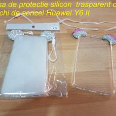 Husa de protectie silicon trasparent cu urechi de soricel Huawei Y6 II - Husa Telefon Huawei, Transparent, Cu snur