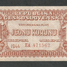 CEHOSLOVACIA 1 COROANA KORUN 1944 [3] P-45a, XF Comandamentul Armatei Rosii - bancnota europa