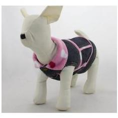 Vestă de blugi pentru câini – cu inimioare roz, XS - Haina caine