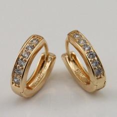 CERCEI tortite placati filati cu aur 14k cu pietre zirconiu - noi - Cercei placati cu aur pandora
