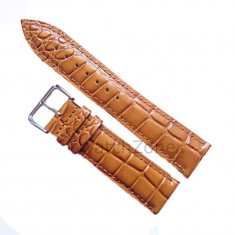 Curea de ceas Piele Maro Mustar imp Crocodil Curea ceas 22mm - Curea ceas piele
