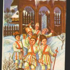 CPI (B7939) FELICITARE DE ANUL NOU - COPII LA COLINDAT - Carte Postala Muntenia dupa 1918, Necirculata, Fotografie
