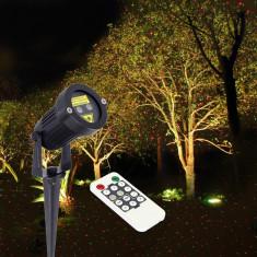 Proiector laser exterior IP65, cu telecomanda, joc de lumini verzi si rosii