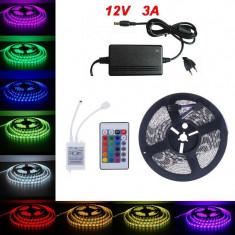 Kit 5m Banda LED RGB Telecomanda si Transformator C116 foto