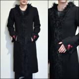 Palton lung cu blanita pe margini - Palton dama, Marime: S, Culoare: Negru