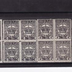 ROMANIA 1924, LOT TAXA DE PLATA COROANA BLOCURI DE 4 TIMBRE MNH - Timbre Romania, Nestampilat