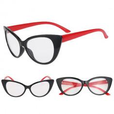 Ochelari de dama Cat Eyes classic lentila transparenta fara dioptrii NEGRU ROSU, Ochi de pisica, Femei