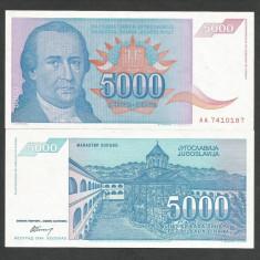 IUGOSLAVIA 5.000 5000 DINARI 1994 UNC [1] P-141a, necirculata - bancnota europa
