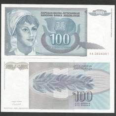 IUGOSLAVIA 100 DINARI DINARA 1992 UNC [1] P-112, necirculata - bancnota europa