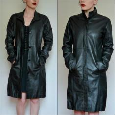 Geaca / palton lung din piele naturala - Geaca dama Vero Moda, Marime: 36, Culoare: Negru