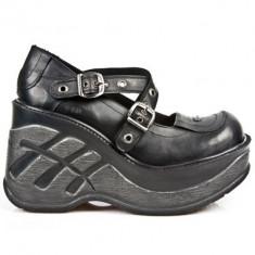 Pantofi goth New Rock Cuña Mary Jane - Pantof dama New Rock, Culoare: Negru, Marime: 39