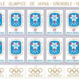 RO-0022=Romania 1967-Jocurile olimpice Grenoble 1968,7 blocuri de 10 timbre MNH, Nestampilat