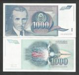 IUGOSLAVIA 1000 1.000 DINARI 1991 a UNC [01] P-110 , aproape necirculata