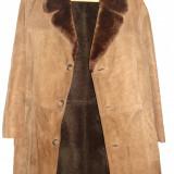 Cojoc barbati din piele naturala (Palton) - Palton barbati, Marime: 58, Culoare: Bej