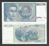 IUGOSLAVIA 500 DINARI 1990 a UNC [1] P-106 , aproape necirculata