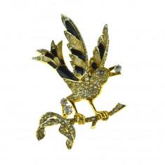 Brosa placata aur 22 k, decorata email cristale, casa bijuterii D'Orlan, vintage - Brosa placate cu aur