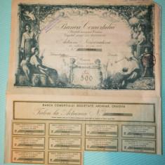 Actiune nominativa 500 lei Banca Comertului Craiova - 1921