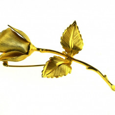 Brosa placata aur 22 k, trandafir, semnata casa de bijuterii Giovanni, vintage - Brosa placate cu aur