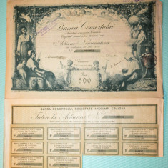 Actiune nominativa 500 lei Banca Comertului Craiova - 1921 (II), Romania 1900 - 1950
