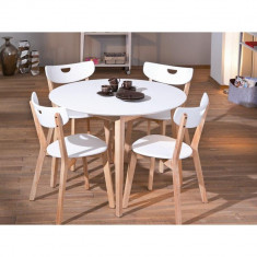 Set masa HM Peppita alba plus 4 scaune HM Peppi - Set mobila living