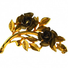 Brosa placata aur, gold plated 18 k, semnata atelier bijuterii american, vintage - Brosa placate cu aur