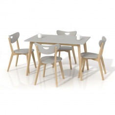 Set masa HM Lorrita gri plus 4 scaune Peppi - Set mobila living