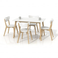 Set masa HM Lorrita alba plus 4 scaune Peppi - Set mobila living