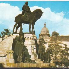 Bnk cp Cluj Napoca - Statuia lui Matei Corvin - circulata - Carte Postala Transilvania dupa 1918, Printata