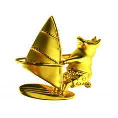Brosa placata aur, statement, design modernist, casa de bijuterii JJ, vintage - Brosa placate cu aur