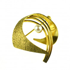 Brosa placata aur, double, design modernist, casa de bijuterii germana, vintage - Brosa placate cu aur