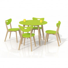 Set masa HM Peppita verde plus 4 scaune Peppi - Set mobila living