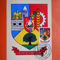 HOPCT MAXIMA 26340 BUZAU - STEMA JUDETULUI / HERALDICA, Romania de la 1950