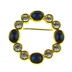 Brosa placata aur 22 k, decorata cristale, semnata Marks & Spencer, vintage - Brosa placate cu aur