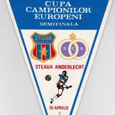 Fanion fotbal STEAUA BUCURESTI - ANDERLECHT semifinala CCE 16.04.1986