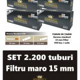2.200 tuburi de tigari Korona standard cu filtru maro pentru injectat tutun
