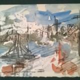 Peisaj cu barca - Pictor roman, Peisaje, Acuarela, Altul