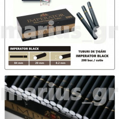 IMPERATOR BLACK - Pachet 10 cutii tuburi de tigari negre x 200 buc. pentru tutun - Foite tigari