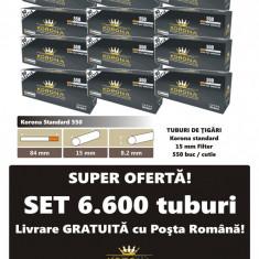 Ofertă! 6.600 Tuburi de tigari cu filtru maro Korona 550 pentru injectat tutun - Foite tigari