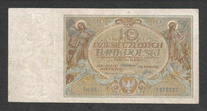 POLONIA   10  ZLOTI   ZLOTYCH  1929  [2]   P-69  ,  VF+