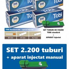 2.200 tuburi de tigari pentru tutun, TOBI 4 x 550 + injector manual - Filtru tutun