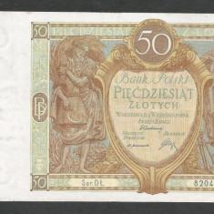 POLONIA 50 ZLOTI ZLOTYCH, 1929 [3] P-71b, VF - bancnota europa