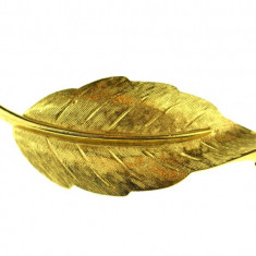 Brosa vintage placata aur 14k, double, design retro Leaf, semnata casa bijuterii - Brosa placate cu aur