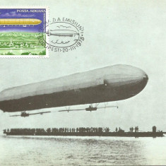 No(2)ilustrata maxima-DIRIJABILE-Zeppelinul LZ 1-prima zi, Romania de la 1950, An: 1978, Spatiu
