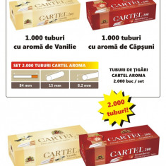 SET - Tuburi de tigari Cartel AROMA - set / 2.000 tuburi vanilie si capsuni - Foite tigari