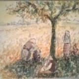 Tarani pe camp, Peisaje, Acuarela, Impresionism