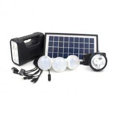 Panou solar kit fotovoltaic 3 becuri lanterna frontala incarcare telefon GD8007