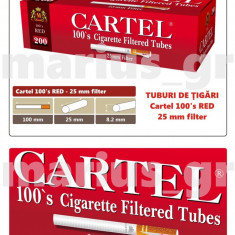 CARTEL 100's RED - SUPER LONG 25 mm - Pachet 10 cutii tuburi tigari, pt tutun - Foite tigari