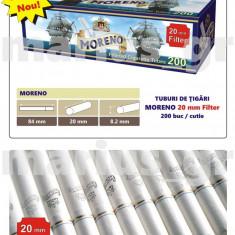 MORENO White 20 mm Filter - 2000 tuburi de tigari pt injectat tutun, filtru alb - Foite tigari